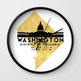 WASHINGTON D.C. DISTRICT OF COLUMBIA SILHOUETTE SKYLINE MAP ART Wall Clock