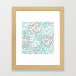 Floral Pattern, Teal, Aqua, Turquoise,Gray Framed Art Print