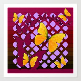 Modern Deco Style Yellow Butterflies Burgundy-Purple Art Art Print
