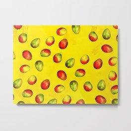 Mango Pattern - Yellow Metal Print