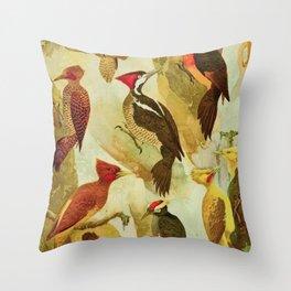 Amazonian Birds by Göldi & Emil August Belem Brazil Colorful Tropical Birds Scientific Illustration Throw Pillow