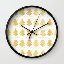 Luxe Gold Christmas Trees Pattern, Seamless Vector Background, Drawn Wall Clock