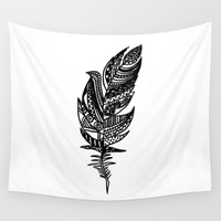 feather Wall Tapestries featuring feather by Nastya Bo