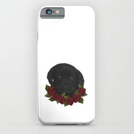 Baby labrador and roses, baby dog iPhone Case