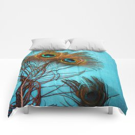 3 peacock feathers Comforters