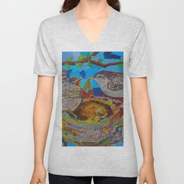 Two Birds In Colorful Nest With Quotes About Wrens Unisex V-Neck