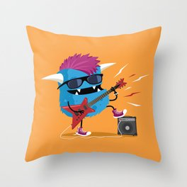 Monster punk rocks with his electric guitar Throw Pillow