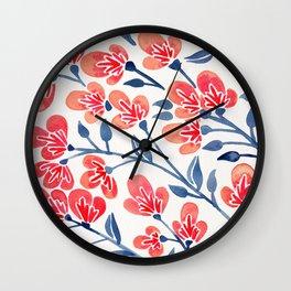 Cherry Blossoms – Melon & Navy Palette Wall Clock