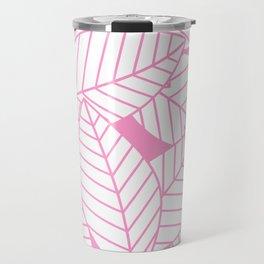 Leaves in Flamingo Travel Mug