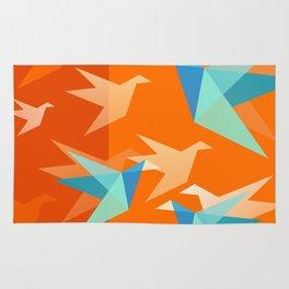 Orange Paper Cranes Rug
