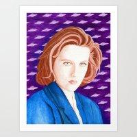 dana scully Art Prints featuring Dana Scully Watercolor Portrait by xenotransplant