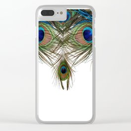 BLUE-GREEN PEACOCK FEATHERS WHITE ART Clear iPhone Case