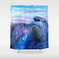otters Shower Curtains featuring First Kiss by Christine's heART