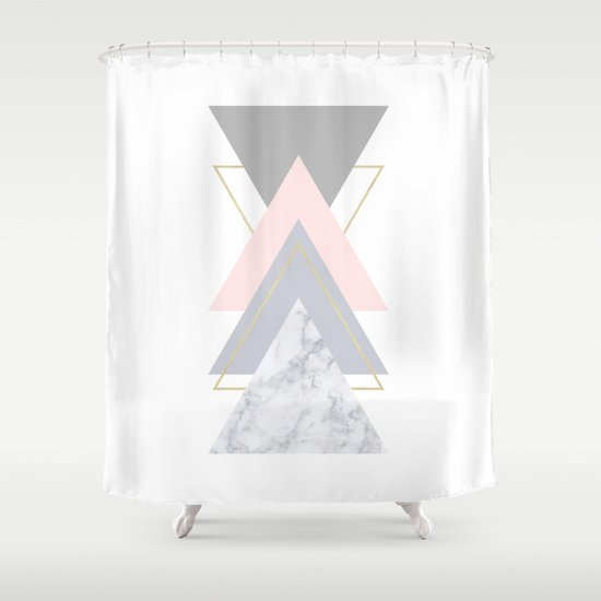 Blush Marble Gray Gold Geometric Pattern Shower Curtain By Xiari Society6