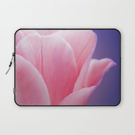 Romantic Pink Solo Tulip On Blue Background Laptop Sleeve