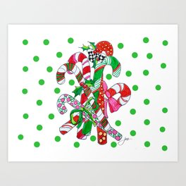 Candy Cane Party Art Print