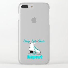 Sleep-Eat-Skate-Repeat in Turquoise Clear iPhone Case