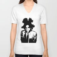 basquiat V-neck T-shirts featuring BASQUIAT by KING