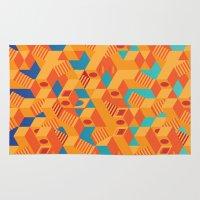 escher Area & Throw Rugs featuring Escher cube by Tony Vazquez