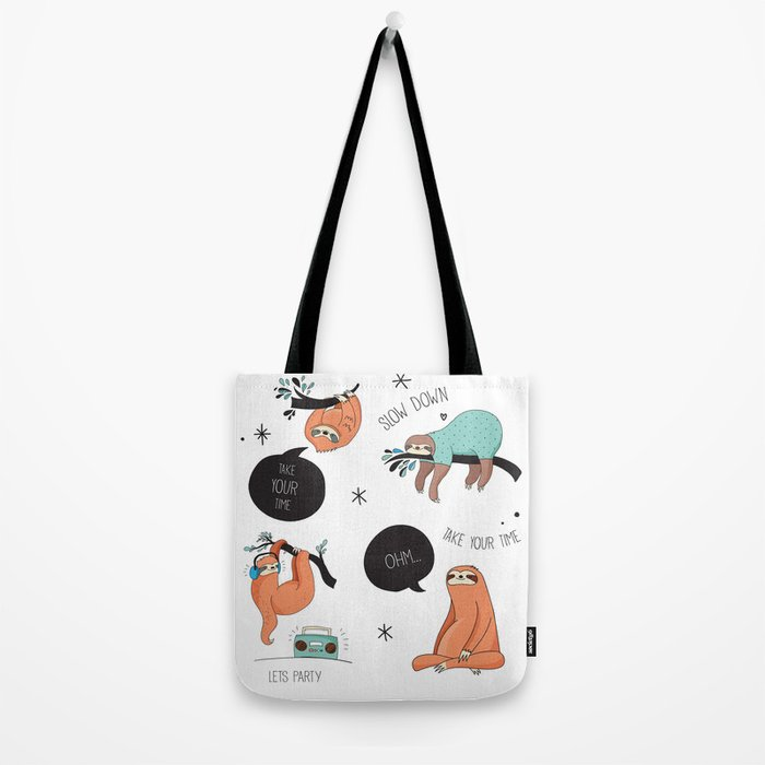 Don't Worry - Be Happy - Lazy Sloth Tote Bag