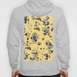 Black and White Floral on Yellow Hoody