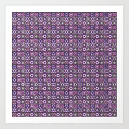 Purple and Green Fractal Collage Pattern Art Print