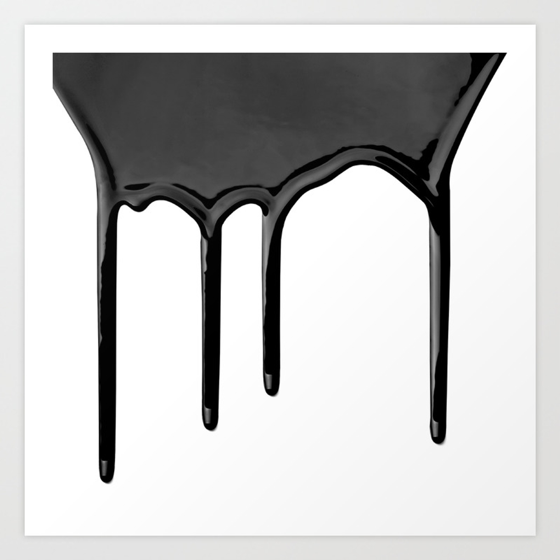 Black Paint Drip Art Print