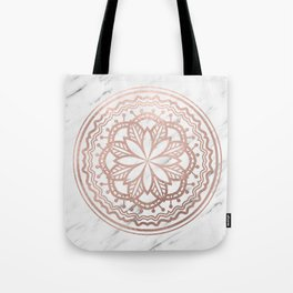 Marble mandala - soft rose gold on white Tote Bag