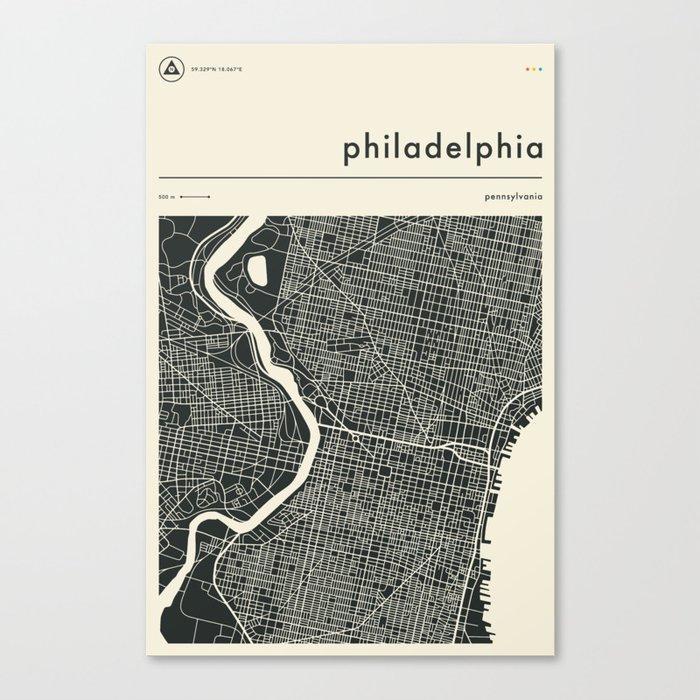 PHILADELPHIA MAP Leinwanddruck