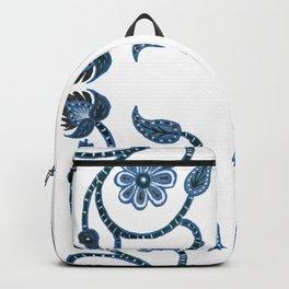 Blue Paisley Double Heart 1 Backpack