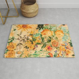 Vintage & Shabby Chic -  Sunny Gold Botanical Flowers Summer Day Rug