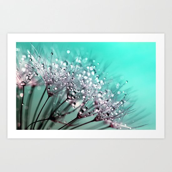 dandelion, mint, turquoise Art Print
