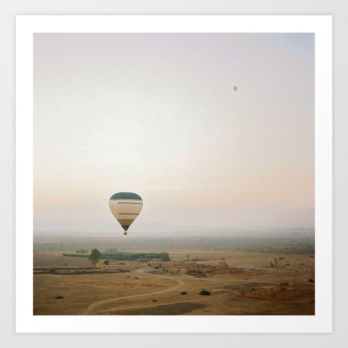 Ballon flight view of desert in sunrise Art Print