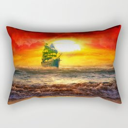 Black Pearl Pirate Ship Rectangular Pillow