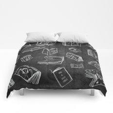 Classic Books - Pattern (Black) Comforters