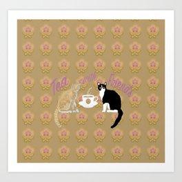 Tea with Friends: Cats Art Print