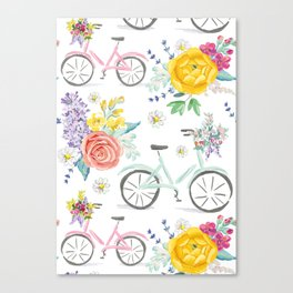 Bike and bouquets pattern Canvas Print
