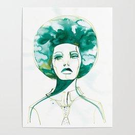 Green Afro Queen Poster