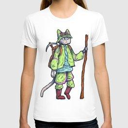 Green Kitty Hiker T-shirt
