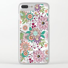 Stylish floral doodles vibrant design Clear iPhone Case