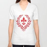 fleur de lis V-neck T-shirts featuring FLEUR DE LIS by WAVY