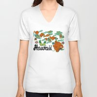hawaii V-neck T-shirts featuring HAWAII by Christiane Engel