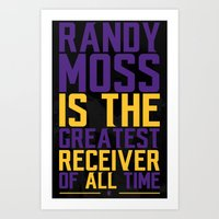randy c Art Prints featuring Randy Moss by Couch Coaches