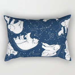 Polar Bear and Constellation Arctic Night Sky Stars Rectangular Pillow