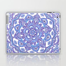 Lilac Spring Mandala - floral doodle pattern in purple & white Laptop & iPad Skin