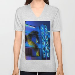 Blue Midnight - South Beach Colony Hotel landscape by Jeanpaul Ferro Unisex V-Neck