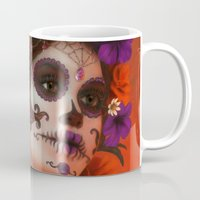 day of the dead Mugs featuring Day of the Dead by Cellesria /Tanya Varga - Digital Artist