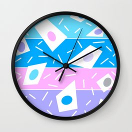 Summer garden blues and lavender geometric abstract stripe Wall Clock