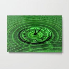 Hands of Time Light-Green Rippling Water Art Motif Metal Print