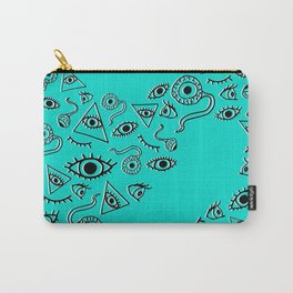 """""""The Eyes Have It"""" in Turquoise Carry-All Pouch"""